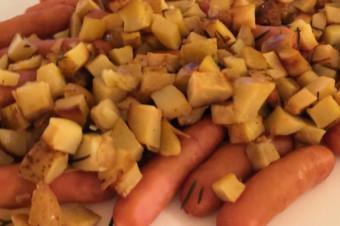 ジャガイモとソーセージのハーブロースト