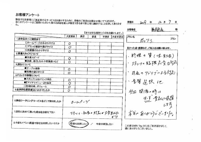 アンケート ガッツリプラン ケータリング 名古屋