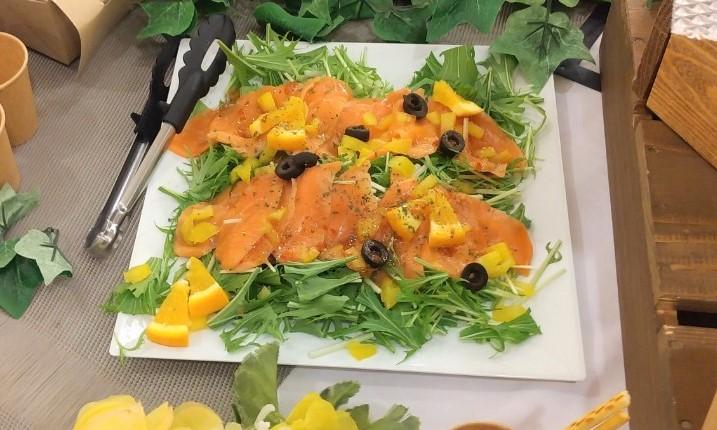 マカジキの燻製~オリーブとオレンジのマリネ~ プラチナプラン ケータリング 名古屋