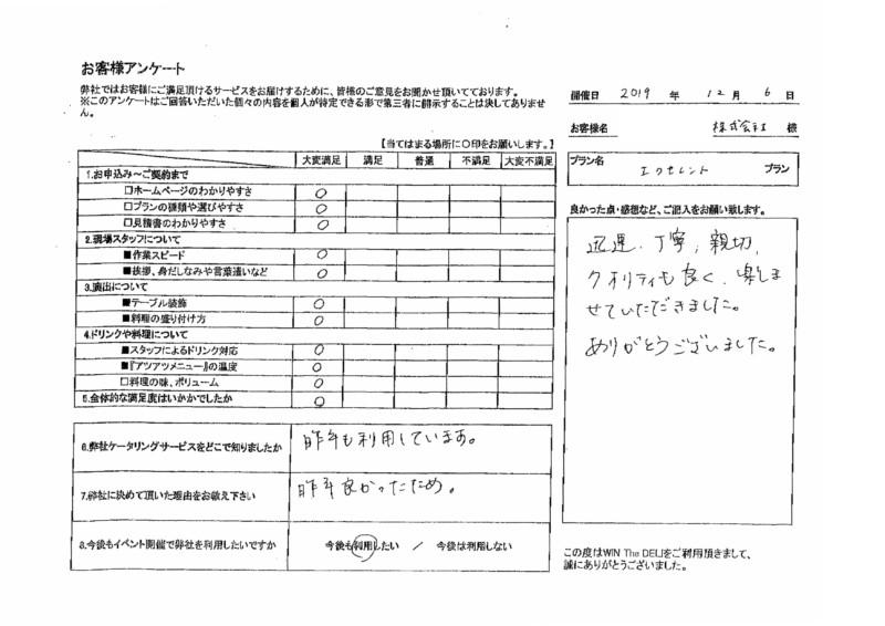 アンケート  エクセレントプラン ケータリング 名古屋